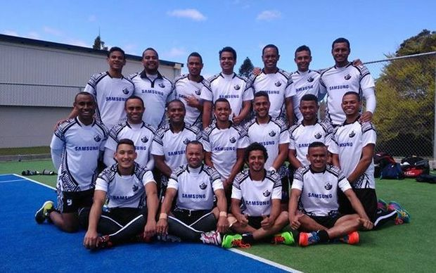 The Fiji men's hockey team at the Oceania Cup.