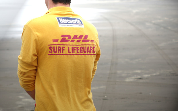 A Surf Life Saving lifeguard at Muriwai Beach, Auckland, on 22 October 2015.