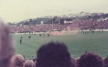 A smoke bomb thrown on to the pitch at Eden Park, 1981.