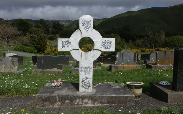 Celtic tombstone cross in white marble