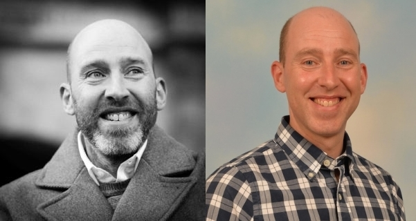 Facial hair expert Alun Withey with and without a beard.