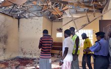 The aftermath of a bombing during Friday prayers at a mosque in Maiduguri.