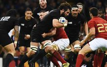 Sam Whitelock during the All Blacks v France quarter final.