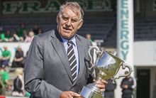 Sir Colin Meads holds the Meads Cup before the Meads Cup final rugby game between South Canterbury v Wanganui held at Alpine Energy Stadium, Timaru. 24 October 2015 Photo: Joseph Johnson / www.photosport.nz