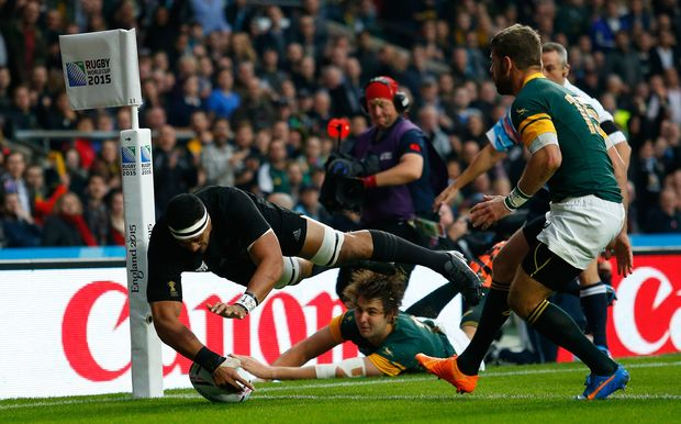All Black Jerome Kaino scores against South Africa RWC2015.