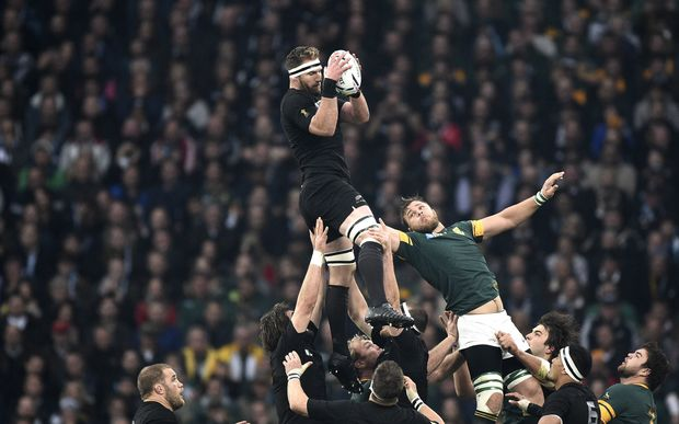 Kieran Read catches the line-out ball in a line out