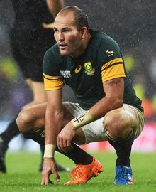 South African captain Fourie du Preez dejected at the end of the match.