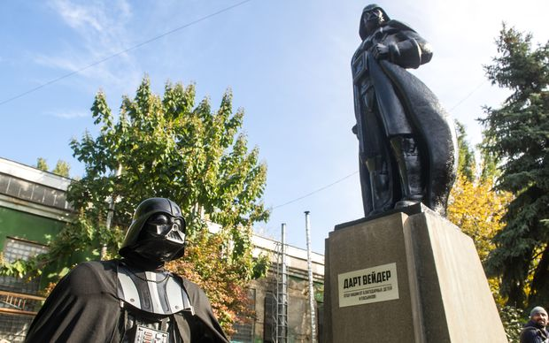 A statue of Lenin is replaced into one of Darth Vader, an oddly prominent figure in local politics.