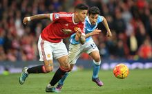 Marcos Rojo and Jesus Navas in Manchester Derby 2015