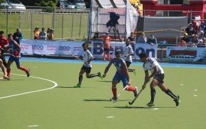 The Fiji and Samoa men's hockey teams during the 2015 Oceania Cup.