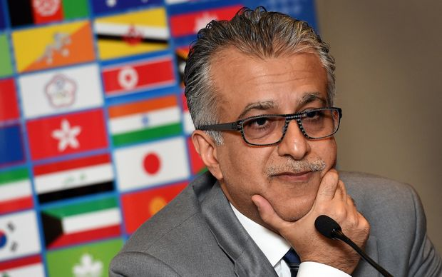 Asian Football Confederation (AFC) chief Shaikh Salman bin Ebrahim Al Khalifa in Melbourne before the start of the AFC Asian Cup on January 9, 2015. AFP PHOTO / William WEST