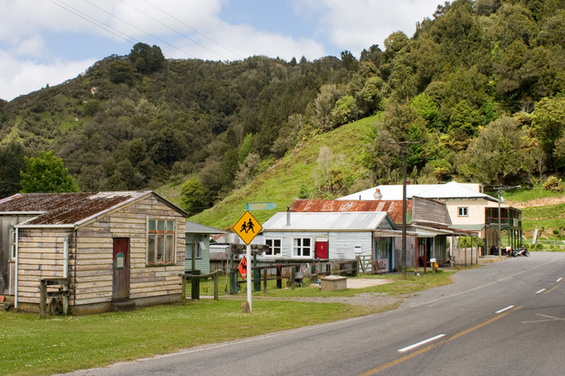 The shops at Whangamomona include a butcher, a post office - and the famous Whangamomona Hotel.