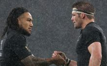 Richie McCaw celebrates with Ma'a Nonu following the semi-final win over South Africa.
