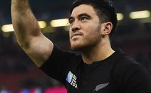 Nehe Milner-Skudder acknowledges the fans following the All Blacks win over France.