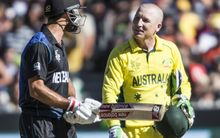Grant Elliott and Brad Haddin exchange words during the World Cup final in Melbourne.