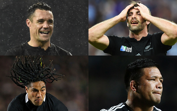 The departing champions: Dan Carter, Conrad Smith, Ma'a Nonu and Keven Mealamu (clockwise).