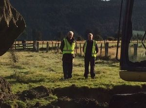 Tom McCready (left) and Andrew McGregor - independent air accident investigators at dig site.