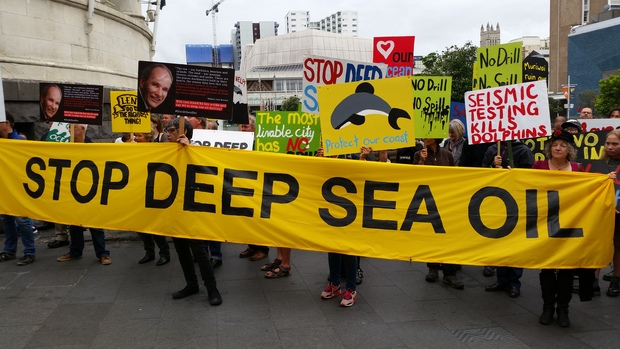 Protesters against deep sea oil exploration outside an Auckland council meeting.