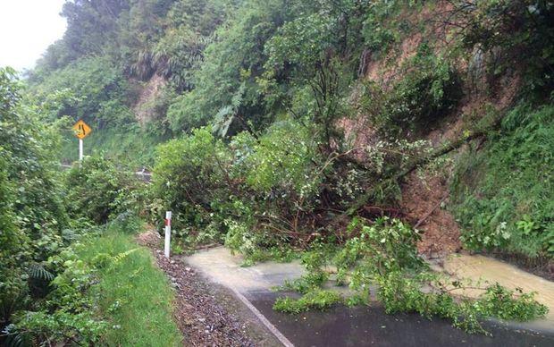 Slips closed Akatarawa Road this morning.
