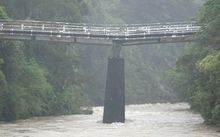 The bridge at Bridge Road in the Upper Hutt suburb of Birchville has visibly slumped.