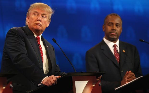 Donald Trump and Ben Carson during today's Republican debate.