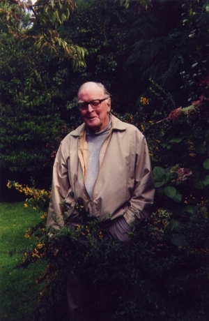 Lilburn in his garden, c. 1996