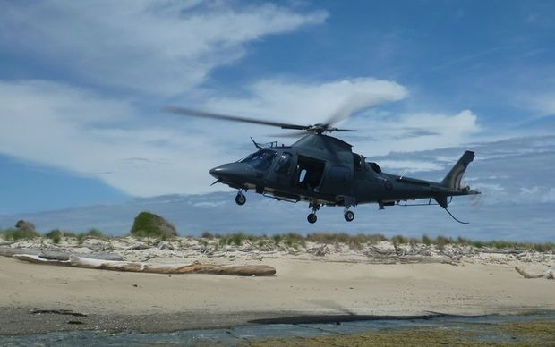 An air force helicopter conducts paua poaching patrols on Hawke's Bay's coastline.