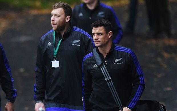 Dan Carter (R) and Wyatt Crockett arrive for the final All Blacks training session ahead of the World Cup final at the Pennyhill Park Hotel, Bagshot, London. Rugby World Cup 2015. Thursday 29 October 2015. Copyright photo: Andrew Cornaga / www.photosport.nz