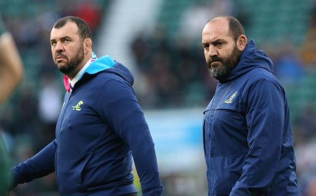 Australia head coach Michael Cheika (L) and scrum coach Mario Ledesma, who used to play for Argentina ©INPHO/Billy Stickland