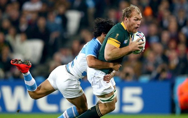 South Africa's Schalk Burger is tackled by Matias Moroni of Argentina ©INPHO/Dan Sheridan