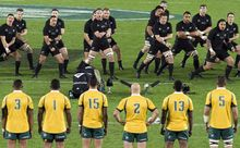 The Wallabies face the Haka at Eden Park, 2015.