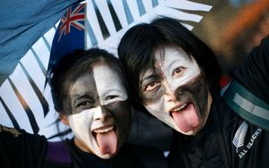 All Black fans celebrate before kick-off at the RWC 2015 final.