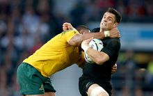 Dan Carter cops a high tackle RWC2015 final.