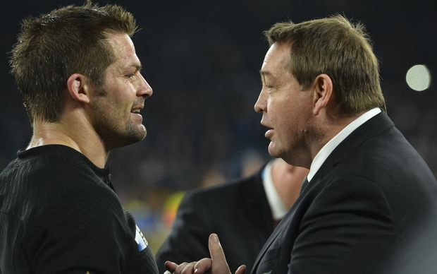 Richie McCaw talks to Steve Hansen after the All Blacks won the 2015 Rugby World Cup.