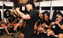 Ma'a Nonu busts a move in the All Blacks' dressing room after winning the Rugby World Cup Final.
