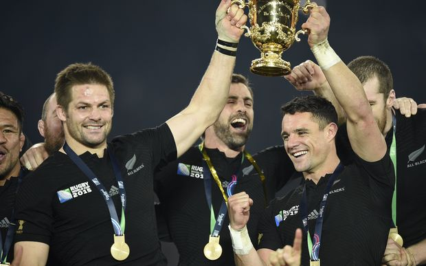 Dan Carter and Richie McCaw celebrate victory in the 2015 Rugby World Cup.