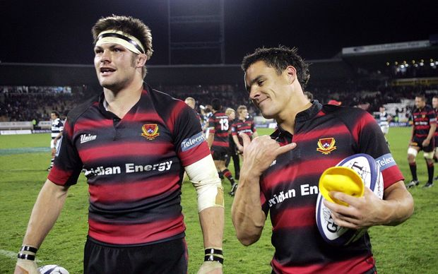 Richie McCaw and Dan Carter playing for Canterbury in 2005