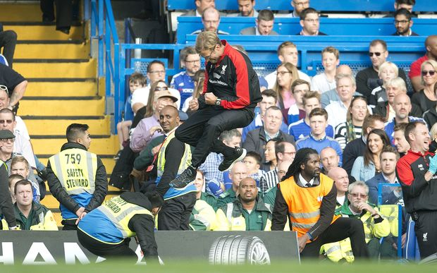 Liverpool manager Jurgen Klopp celebrates after Christian Benteke's goal during the English Premier League match between Chelsea and Liverpool on October 31, 2015 at Stamford Bridge Stadium in London. Photo Ian Tuttle / Backpage Images / DPPI