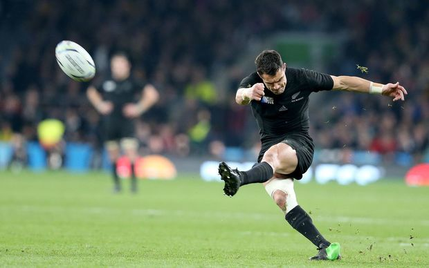 Dan Carter kicks a conversion during the Rugby World Cup final against Australia at Twickenham.