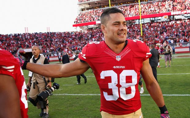 Jarryd Hayne on NFL duty with the San Francisco 49ers after their win over the Baltimore Ravens at Levi's Stadium on October 18, 2015 in Santa Clara, California. Ezra Shaw/Getty Images/AFP