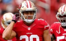 Running back Jarryd Hayne, #38 in his time with the San Francisco 49ers. Ezra Shaw/Getty Images/AFP