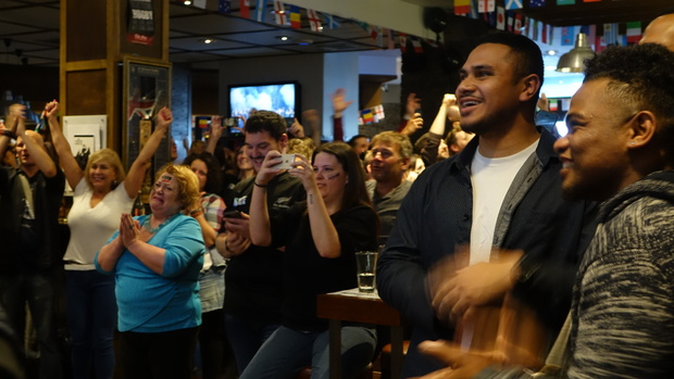 "Fans at the Fox sports bar on Auckland's waterfront were ""over the moon."""
