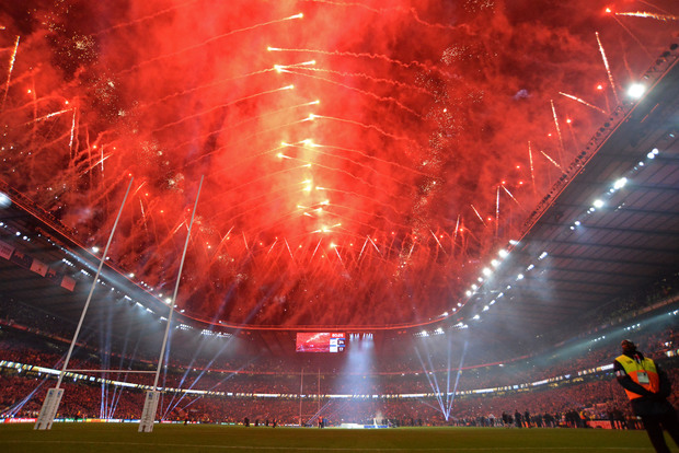 A general view of the stadium as fireworks go off afterthe Rugby World Cup Final between New Zealand (All Blacks) and Australia at Twickenham stadium in London, England, on October 31, 2015. Photo Mitch Gunn / BPI / DPPI