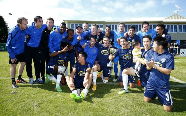 Auckland City FC celebrate their Charity Cup victory over Team Wellington