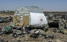 Debris of the A321 lies on the ground a day after the Russian airliner crashed in a mountainous area of Egypt's Sinai Peninsula.