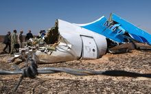 Wreckage of the Airbus A321 in the northern Sinai Peninsula.