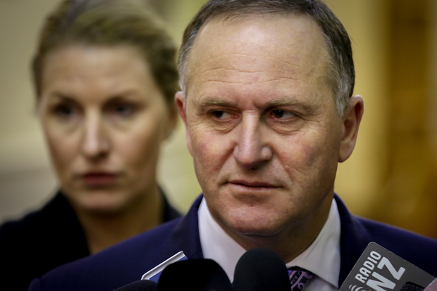 John Key during caucus run talking about Richie McCaw and the royal family.