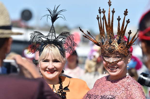Fine hats on display at Flemington Racecourse on Melbourne Cup Day 2015.