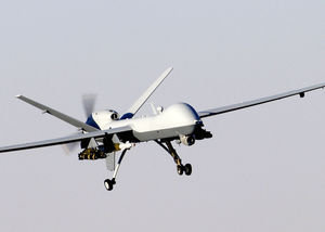 A MQ-9 Reaper unmanned aerial vehicle prepares to land after a mission in support of Operation Enduring Freedom in Afghanistan. The Reaper has the ability to carry both precision-guided bombs and air-to-ground missiles.
