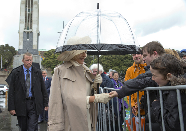The Duchess of Cornwall and her husband attended a wreath-laying ceremony at the Pukeahau National Memorial Park in front of a crowd of about 100 people.